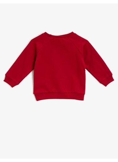 Koton Tom&Jerry Lisansli Pullu Bisiklet Yaka Sweatshirt Kırmızı